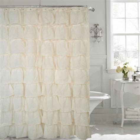 ruffle fabric shower curtain gypsy cream shabby chic ruffled fabric shower curtain