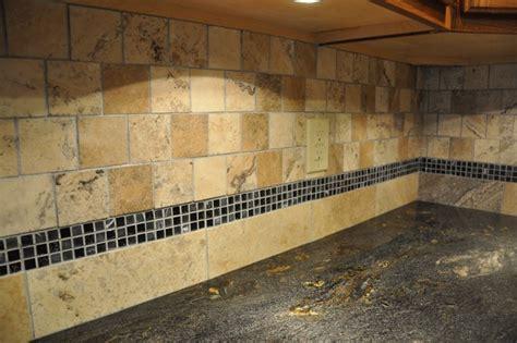 limestone backsplash with glass tile accent granite countertops and tile backsplash ideas eclectic