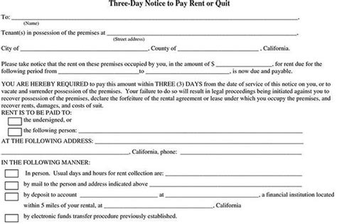 Notice To Pay Rent Or Quit Template by Rent And Lease Template Free Premium