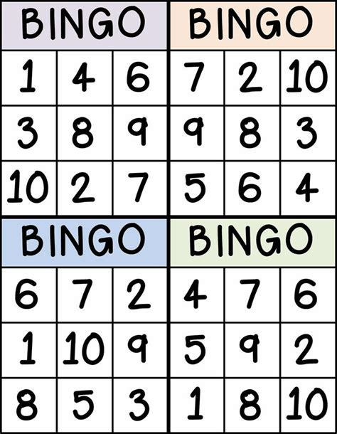 preschool bingo card template bingo for numbers 1 10 great for preschool number