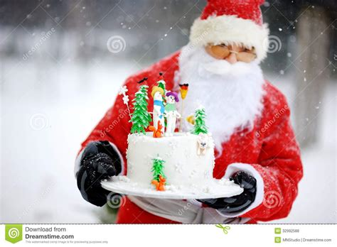 traditional santa claus   christmas cake royalty  stock  image