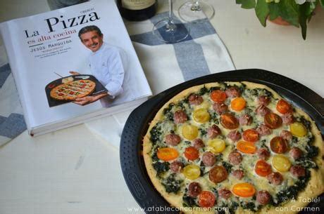 la pizza es alta pizza de espinacas y longaniza y la pizza es alta cocina paperblog