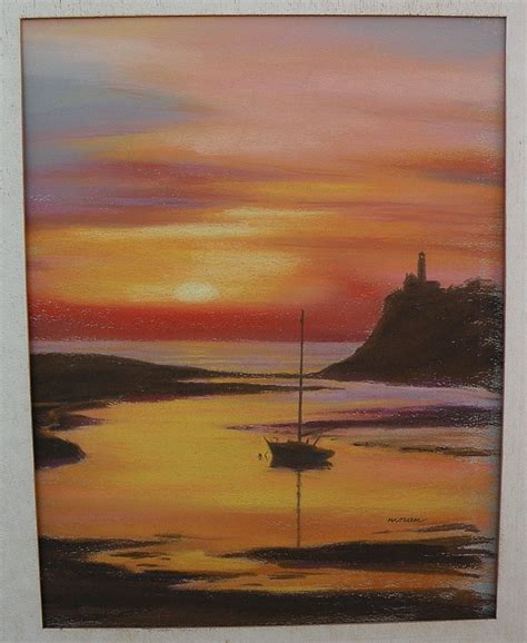 boat and lighthouse drawing pastel drawing boat and lighthouse at sunset from