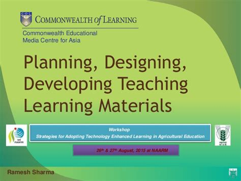layout and presentation of learning materials planning designing developing teaching learning materials