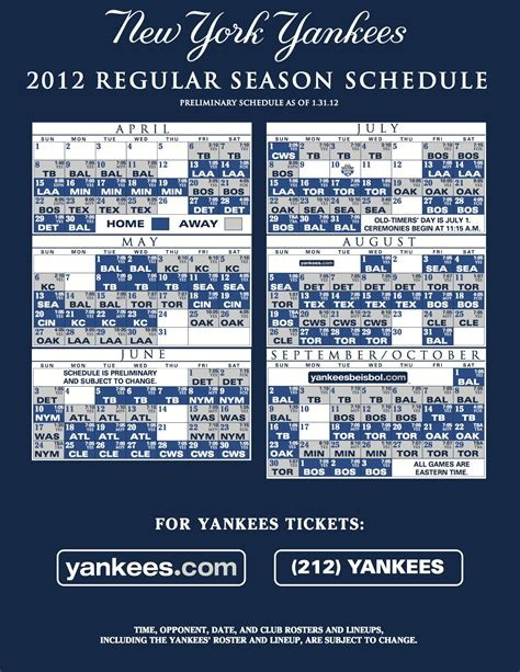 Ny Yankees Schedule 2015 Printable