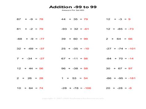 addition of integers worksheet math addition and