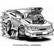 Supercharged Cartoon Muscle Car B&ampw Illustration Drawings