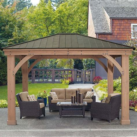Patio Gazebo Costco Yardistry 14ft X 12ft 4 3 X 3 7m Wood Pergola Costco Uk Backyard To Do Pinterest