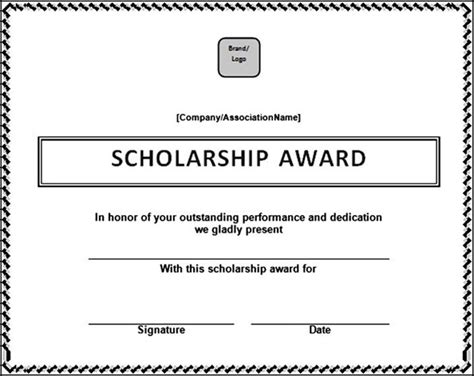 scholarship award template scholarship award certificate template in doc file