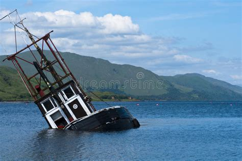 sinking fishing boat gif boat sinking fishing vessel loch linnie stock image