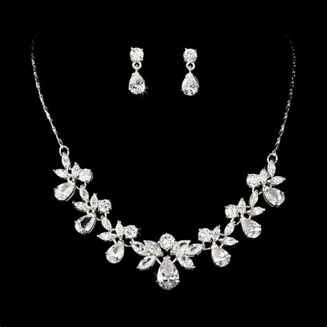 silver necklace earring bridal jewelry set