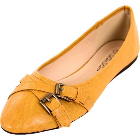 slip on flats shoes womens buckle ballet flats slip on shoes faux leather
