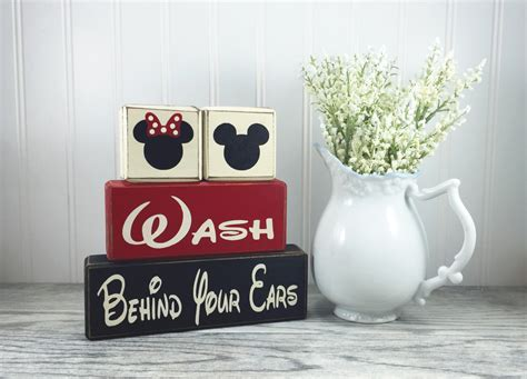 mickey minnie mouse bathroom decor mickey and minnie wood bathroom blocks children s bath