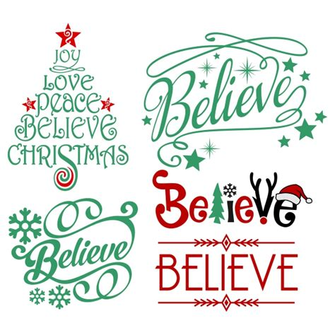 free silhouette cameo christmas cards cut file believe christmas svg cuttable design
