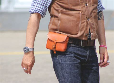 mens small leather belt pouch