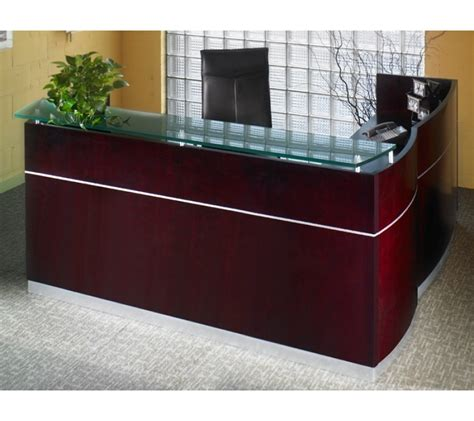 Mayline Napoli Reception Desk Mayline Wood Veneer Napoli L Shape Reception Desk With Frosted Glass Counter Reception Desks