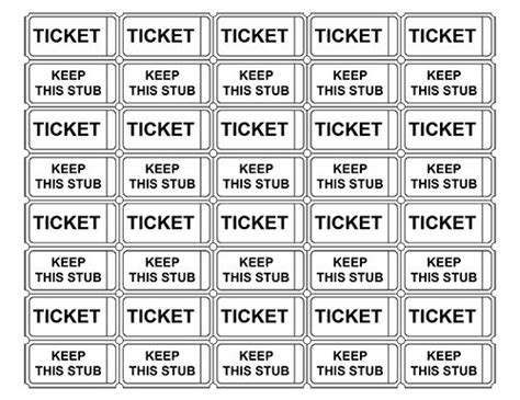template for raffle tickets to print printable admission tickets without numbers crafts