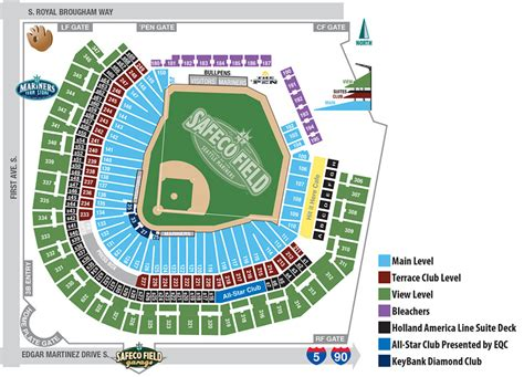 seattle mariners map safeco field seating map seattle mariners