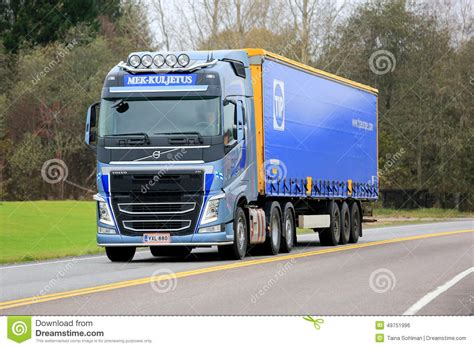 volvo highway trucks blue volvo fh semi truck on the road editorial photo
