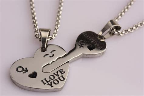 cadenas para novios dije corazon y llave c 2 cadenas novios dual plateado