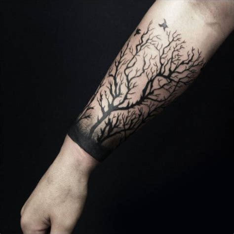 forarm tattoos for men 60 forearm tree designs for forest ink ideas