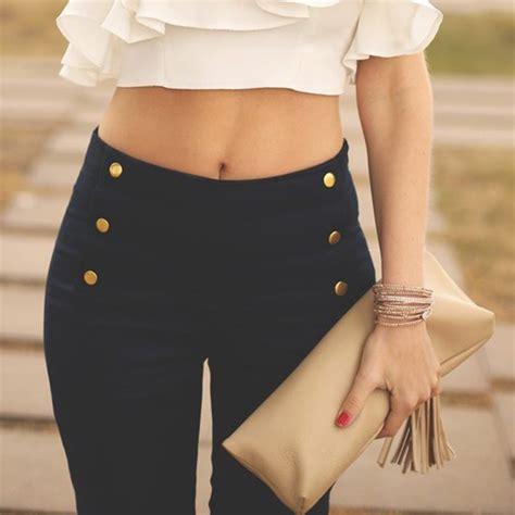 High Waist Button navy navy blue golden buttons