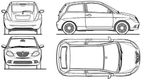 Lancia Ypsilon Dimensions 2008 Lancia Ypsilon Hatchback Blueprints Free Outlines
