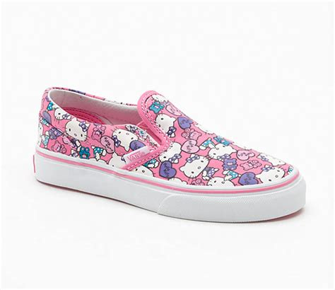 vans hello classic slip on shoes pink white