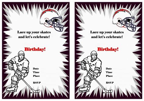 printable birthday cards hockey theme hockey birthday invitations birthday printable