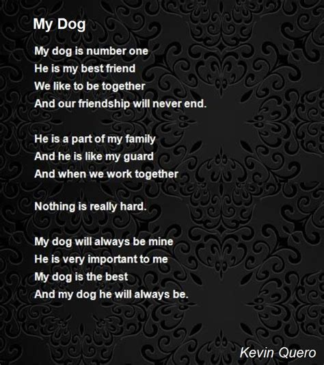 poems about dogs my poem by kevin quero poem