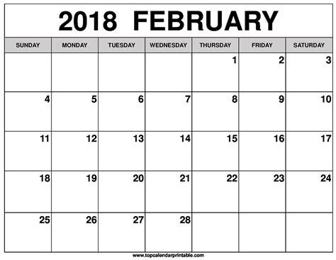 Calendar 2018 February In February 2018 Calendar