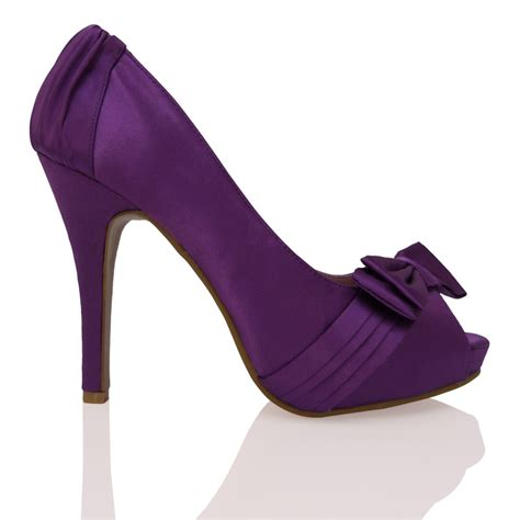 t64 purple satin high heel platform peeptoe bow