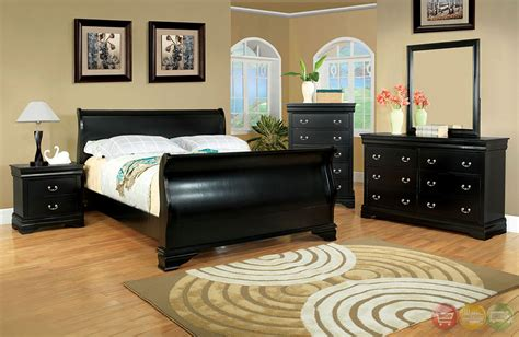 laurelle traditional black sleigh bedroom set with bracket