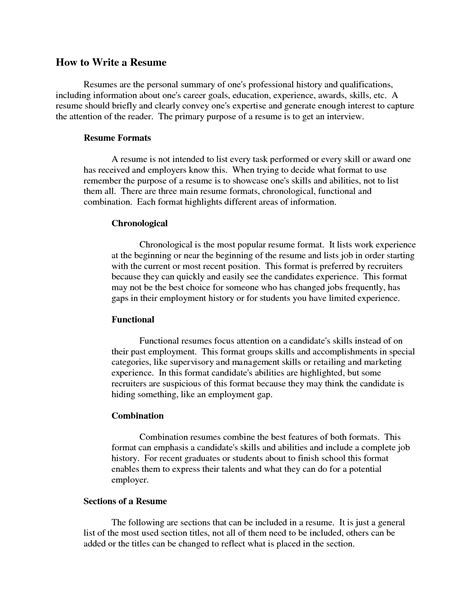 Writing A Summary For Resume Resume Ideas