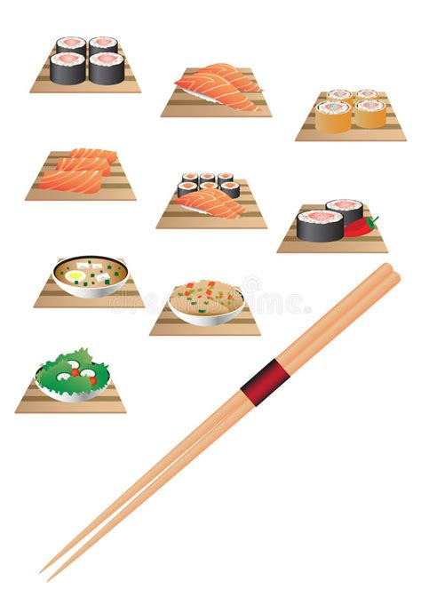 striping beat aka icon thailand bahan kodak paper sushi bar set stock vector illustration of japanese