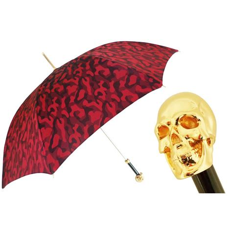 skull pattern umbrella pasotti ombrelli red camouflage umbrella gold skull handle