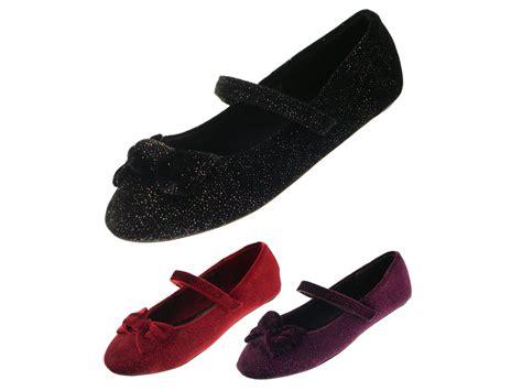 Flatshoes Velvet velvet glitter shoes janes flat ballet pumps velcro size uk 9 2 ebay