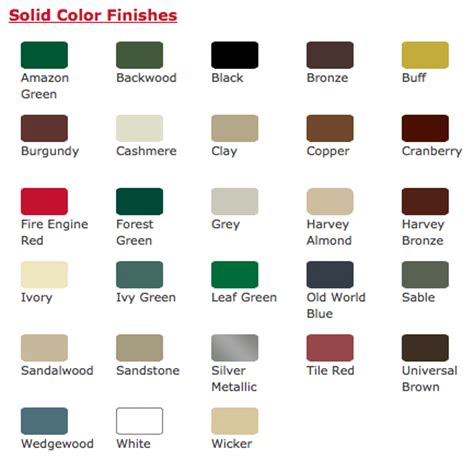 Door Paint Color Chart by Roy S New View Doors