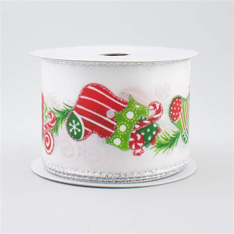 2 5 quot white christmas stockings ribbon 10 yards rt16 145