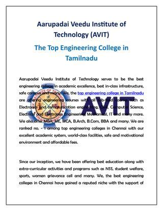 Best Mba Courses In Chennai by Avit The Top Engineering Colleges In Chennai Tamilnadu