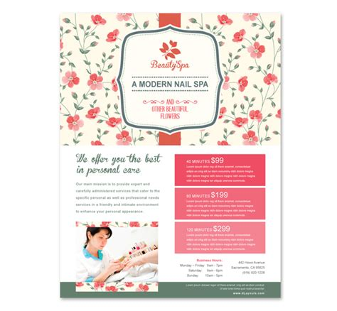 Nail Spa Center Flyer Template Nail Brochure Templates Free