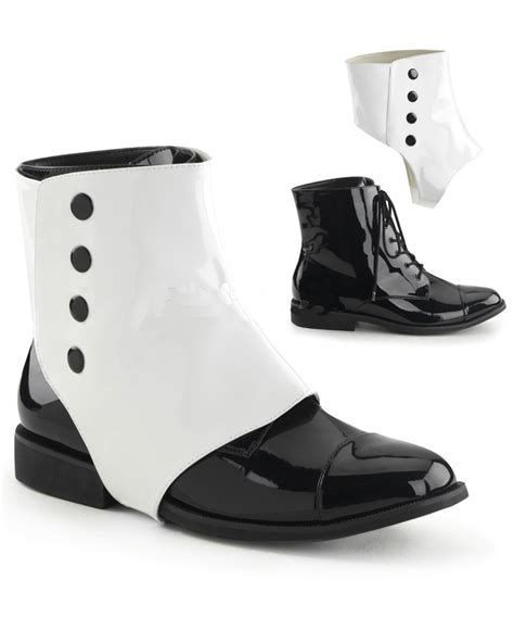 black and white detachable spats mens shoes ebay
