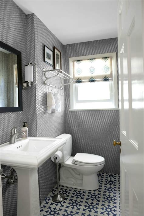 gray bathrooms geometric patterned tiles trending on pinterest home