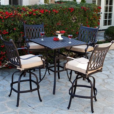 bar height patio furniture sets patio dining set palazetto milan collection cast aluminum