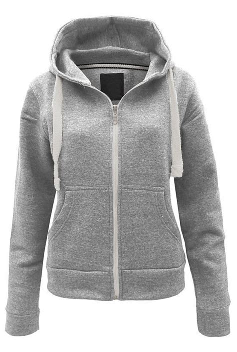 Jaket Hoodie Fleece womens plain hoodie fleece sweatshirt hooded coat