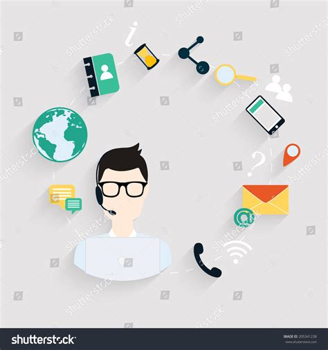 vector flat customer office concept business customer care service concept flat stock vector 205341238