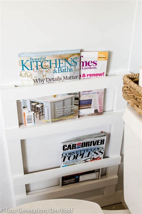 magazine holder for bathroom bathroom diy magazine rack tutorial four generations