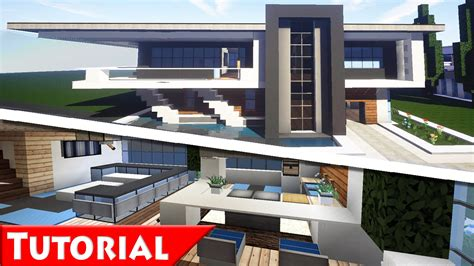 minecraft modern house designs minecraft modern house interior design tutorial how to make part 2 1 8 youtube