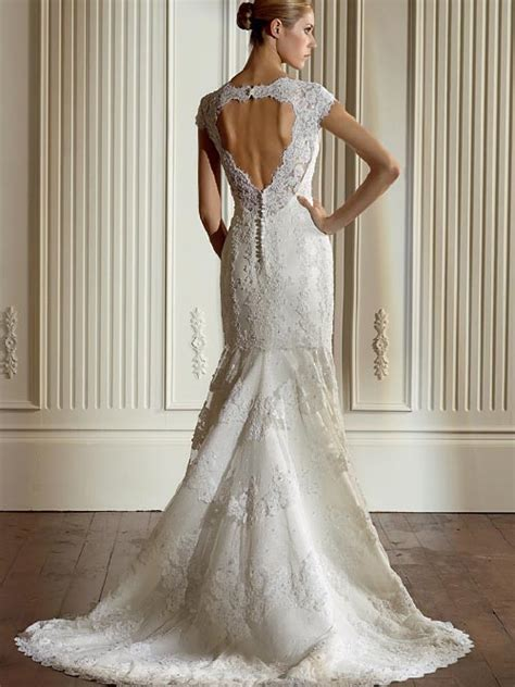 wedding dresses open back lace lace wedding dress with cap sleeves and open back sang