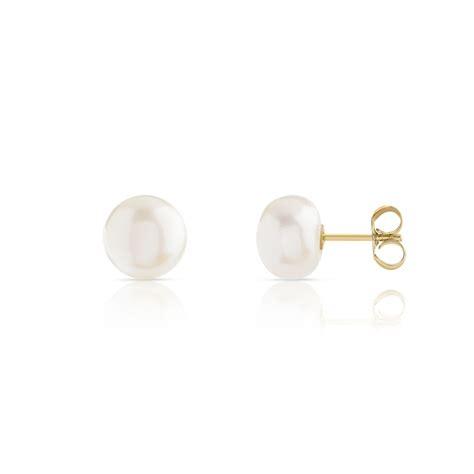 boucles d oreilles or 375 jaune perle de culture de chine